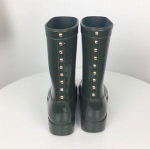 Aldo Army Green rain boots w gold detail size 7/8
